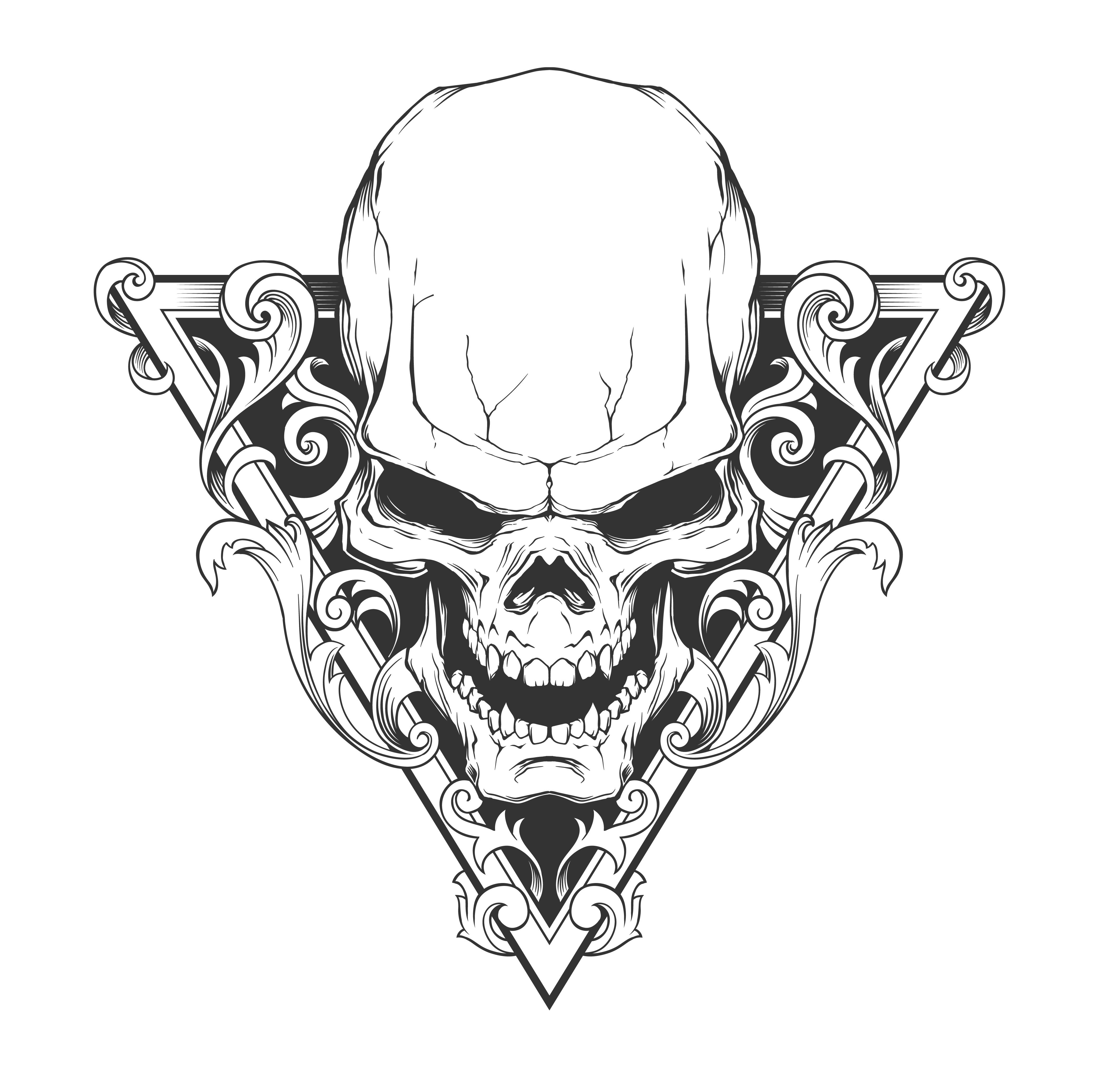 Skull Line Drawing Tattoo :