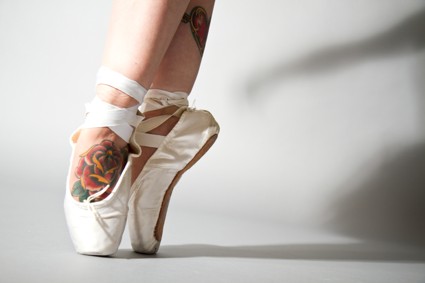 Tattooed feet in ballet shoes iStock_000019146674_Small_3
